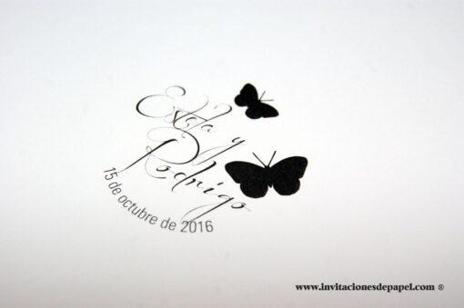 Sello Personalizado con Mariposas para Logo de Boda Clasica