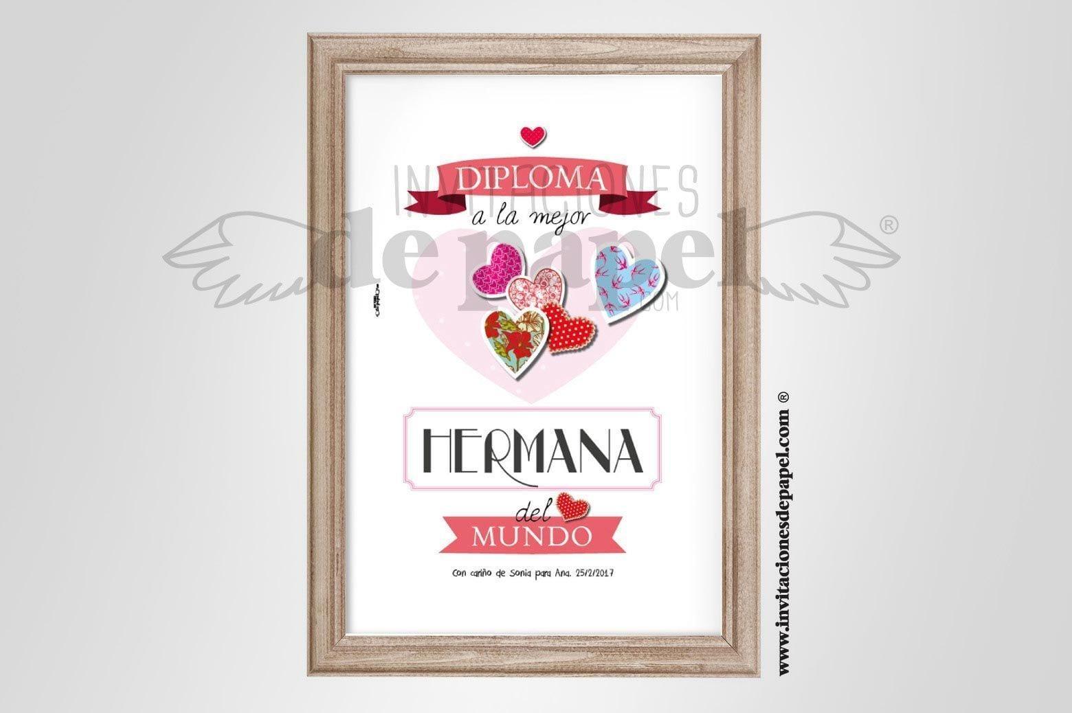 Laminas Personalizadas para Hermanas, Regalo Original tipo diploma