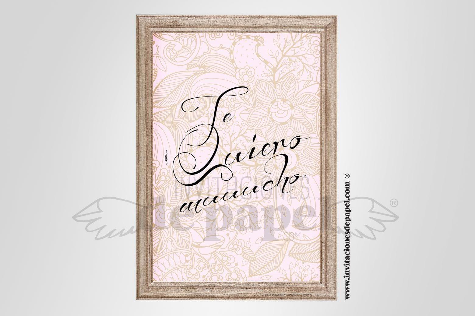 Láminas con Frase de Amor para Regalo Romántico para tu Pareja - te quiero mucho