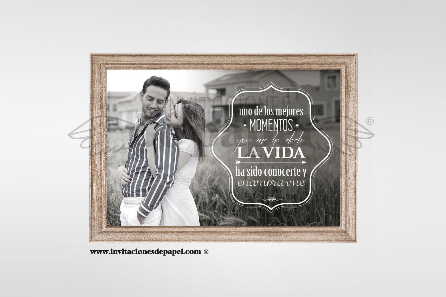 Lamina con Foto y Frase Personalizada para Regalar en Boda a Padres