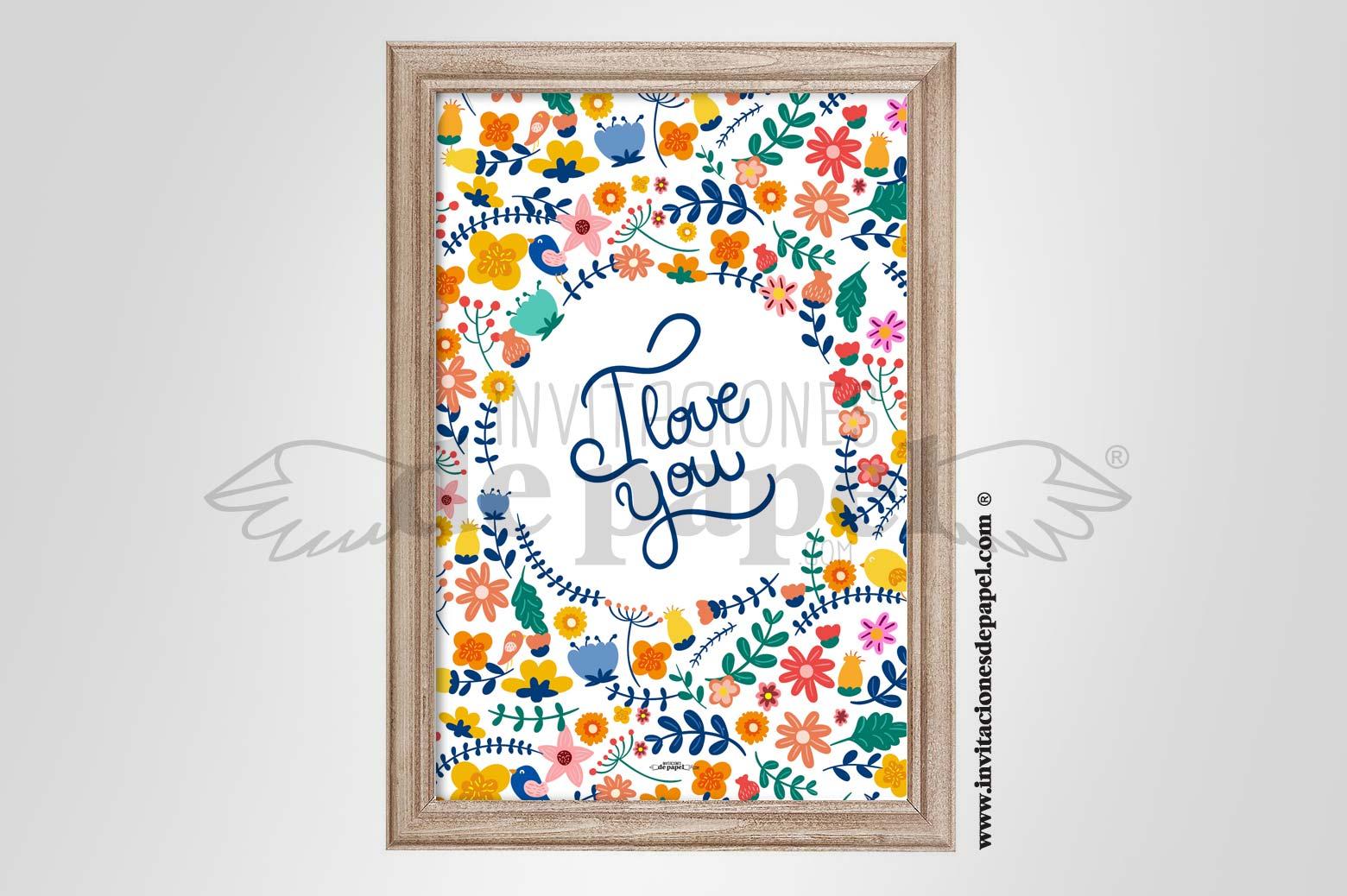 Regalo Romantico Lamina de Amor con Flores - bordado