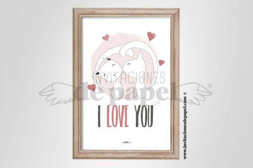 Lamina de Amor con Frase para Regalo Romantico con gatos