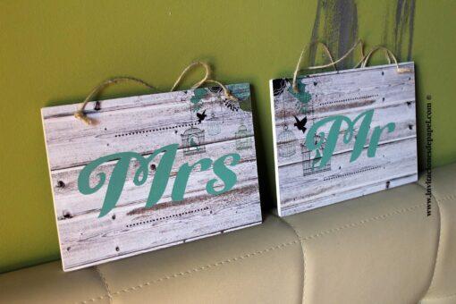 Carteles para colgar en las sillas de los novios en el banquete de Sr & Sra