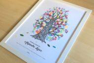 Arbol de Huellas con tinta de color para Primera Comunion, Bautizo, Boda o Cumpleaños