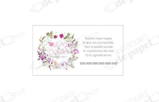 Tarjeta para el numero de cuenta del banco con corona de flores romanticas pintadas en acuarela