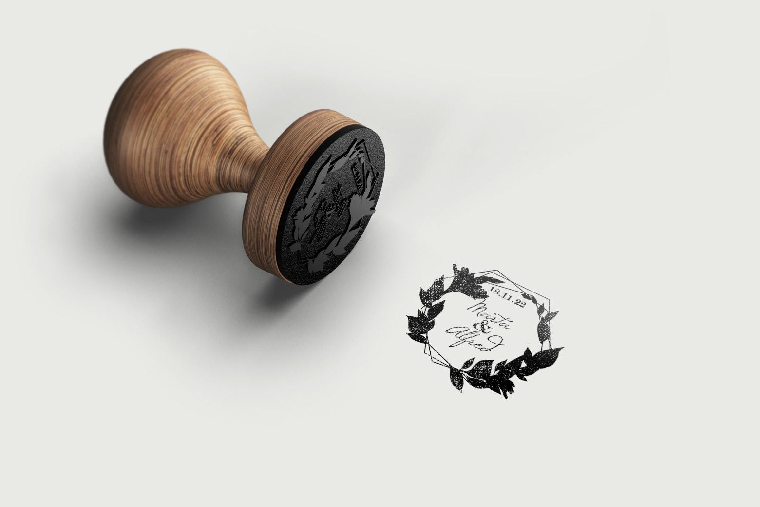Sello de Madera para Boda Personalizado con Hojas de laurel en forma de corona