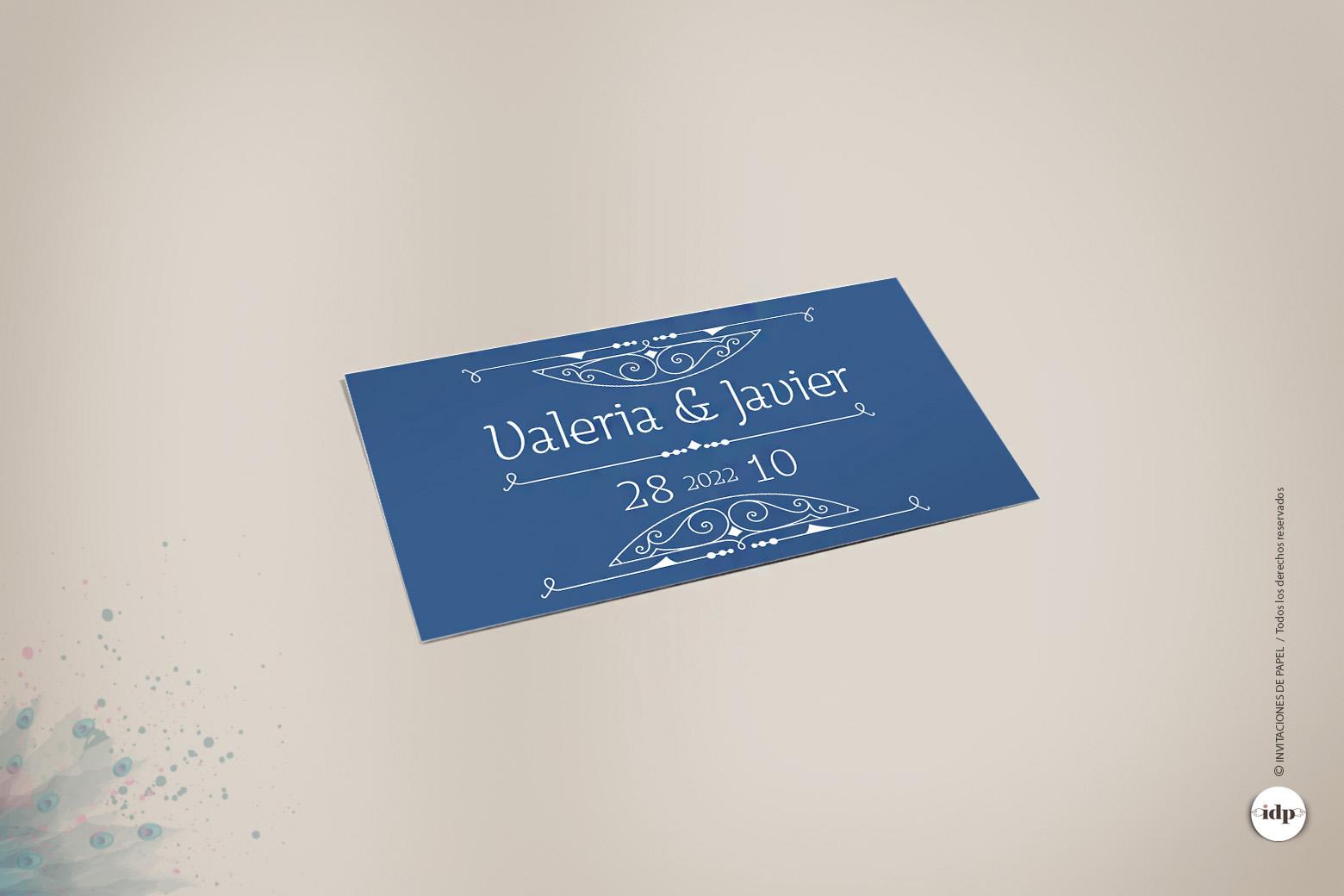 Etiqueta Adhesiva para Regalos de Boda tipo Vintage Años 20 en Azul- royal rectangular