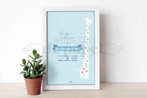 Regalo para Bebe Lamina de Nacimiento Personalizada de Recien Nacido con jirafa en azul