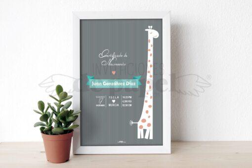 Lamina como Regalo para un Bebe Recien Nacido Personalizada con los datos de su Nacimiento con jirafa en gris
