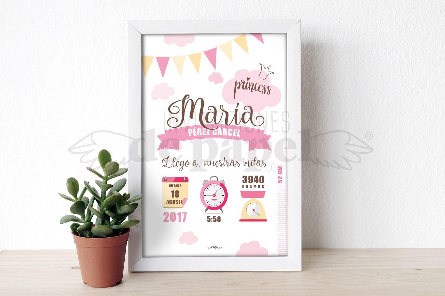 Regalo para Bebe Personalizado Lamina de Nacimiento de Recien Nacido - party rosa