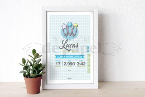 Regalo para Bebe Recien Nacido Personalizado Lamina de Nacimiento con impredibles azules