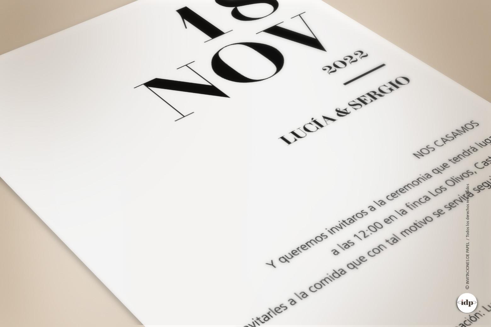 Invitacion de Boda Sencilla y Moderna detalle del texto