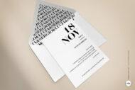 Invitaciones de Boda Modernas y Sencillas con letras en blanco y negro