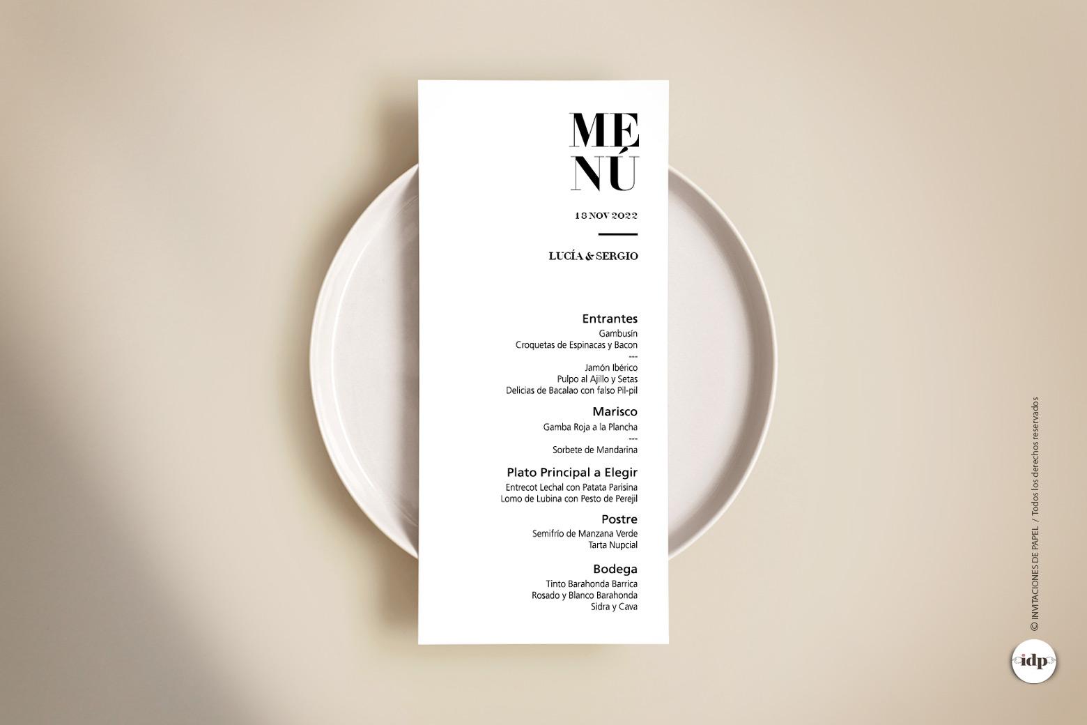 Menu para Boda Original, Moderna, Sencilla y con letras Diferentes letter