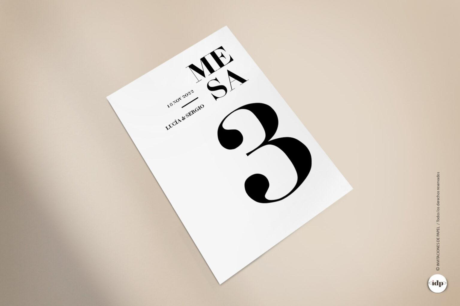 Numero de Mesa para Boda o Mesero Original, Moderno, Sencillo - letter