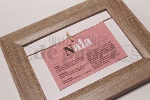 Regalo para Bebe o Niño Cuadro con el Nombre y su significado en rosa