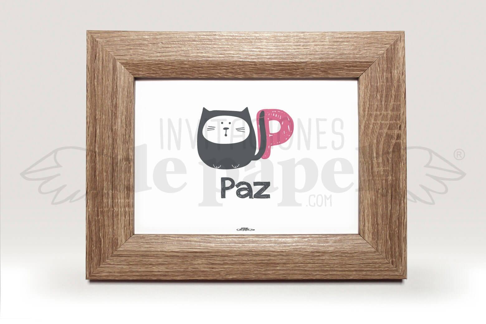 Cuadro Personalizado con Nombre para Regalar a un Bebe con gato y letra en coral