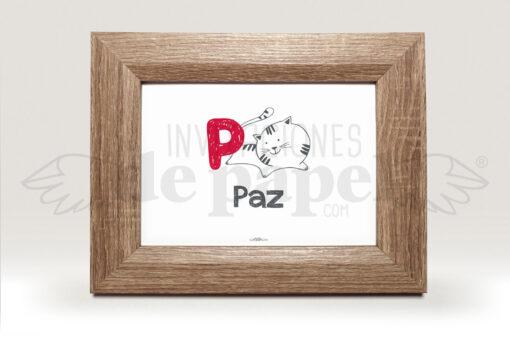 Regalo para Bebe Cuadro Personalizado con Nombre de Recien Nacido con gato y letra rojo