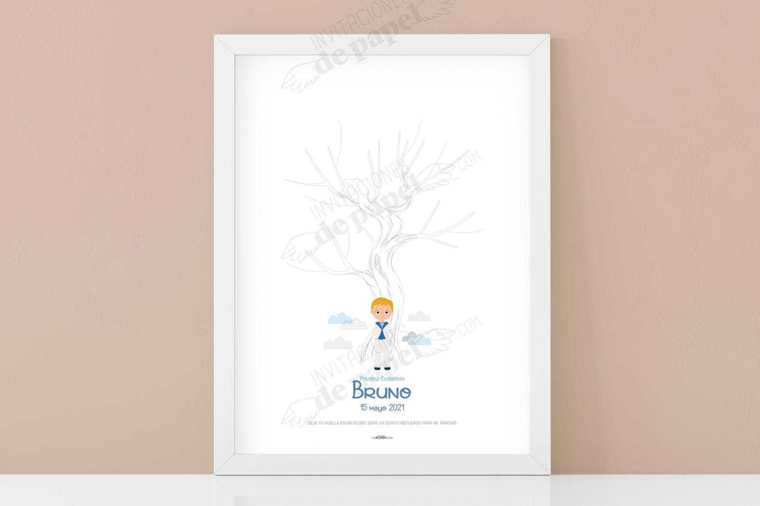 Arbol de Huellas de Primera Comunion para Niño con Dibujo para Personalizar