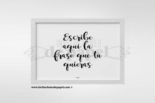 Regalo Original Lamina Frase Personalizada en blanco y negro en Lettering