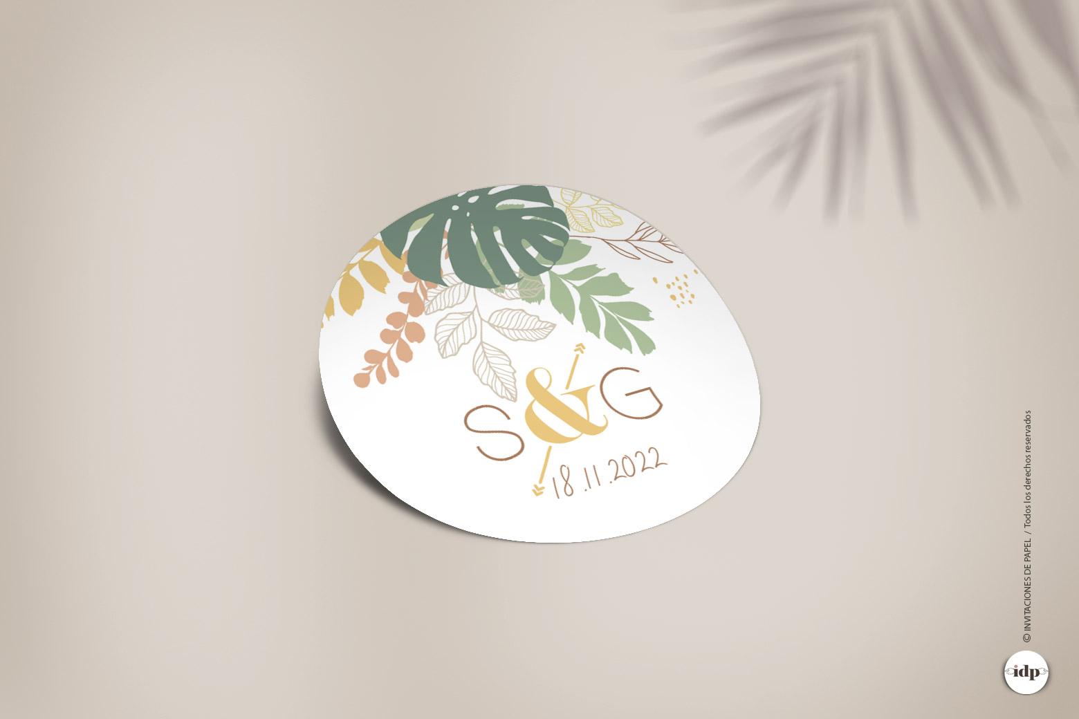 Etiqueta Adhesiva o Pegatina Tropical para Regalos de - redonda amazonas