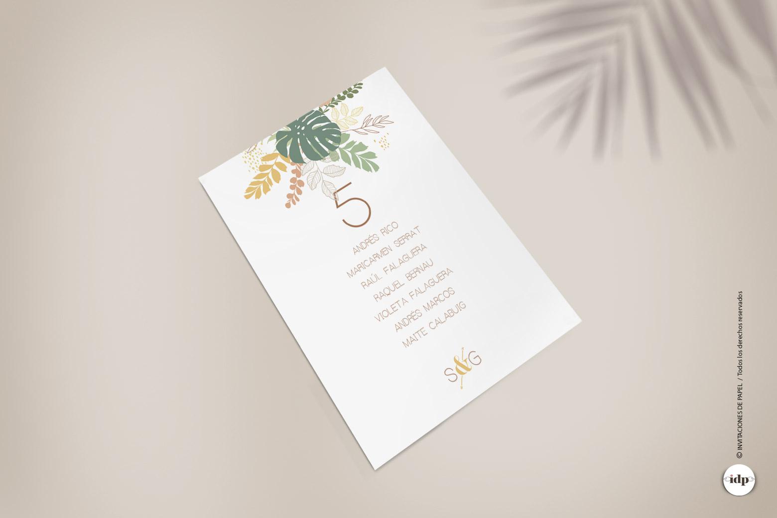 Listas de Mesa para Boda con estilo Tropical y Palmeras- amazonas