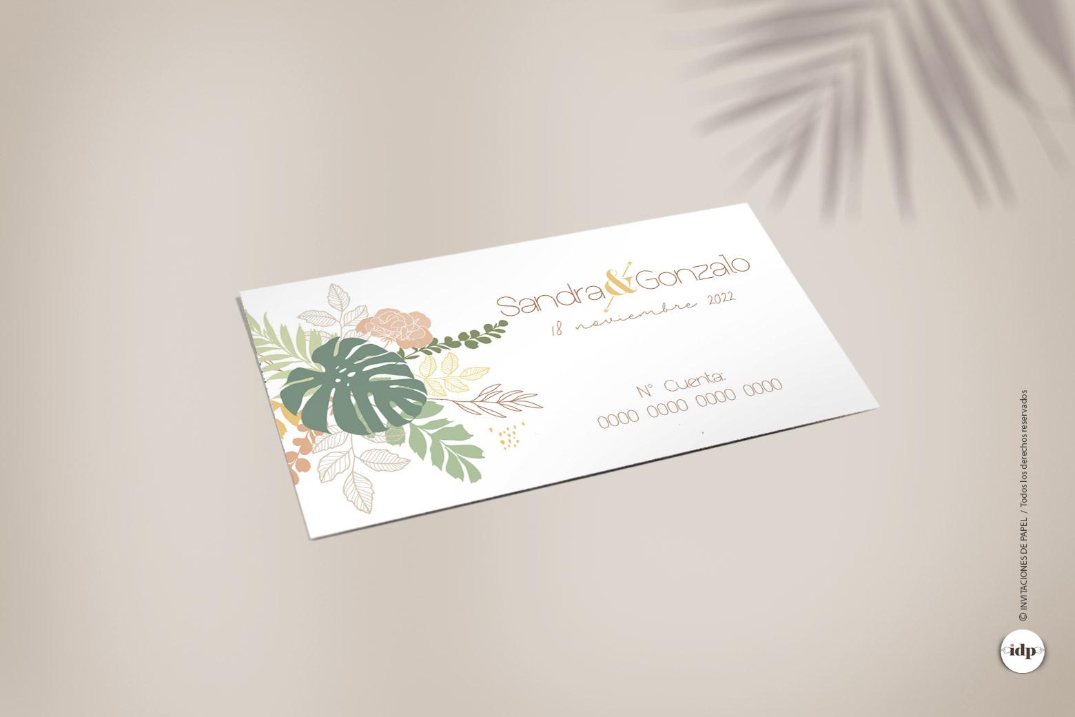 Tarjeta para Numero de Cuenta del Banco de la Boda Tropical - amazonas