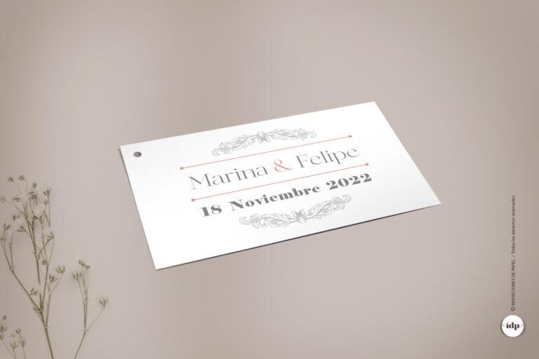 Etiqueta Vintage, Sencilla y Elegante para el Regalo de los Invitados a la Boda