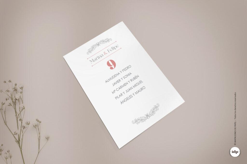 Lista de Mesa o Seating Plan para Boda Vintage, Sencilla y Elegante - sweet