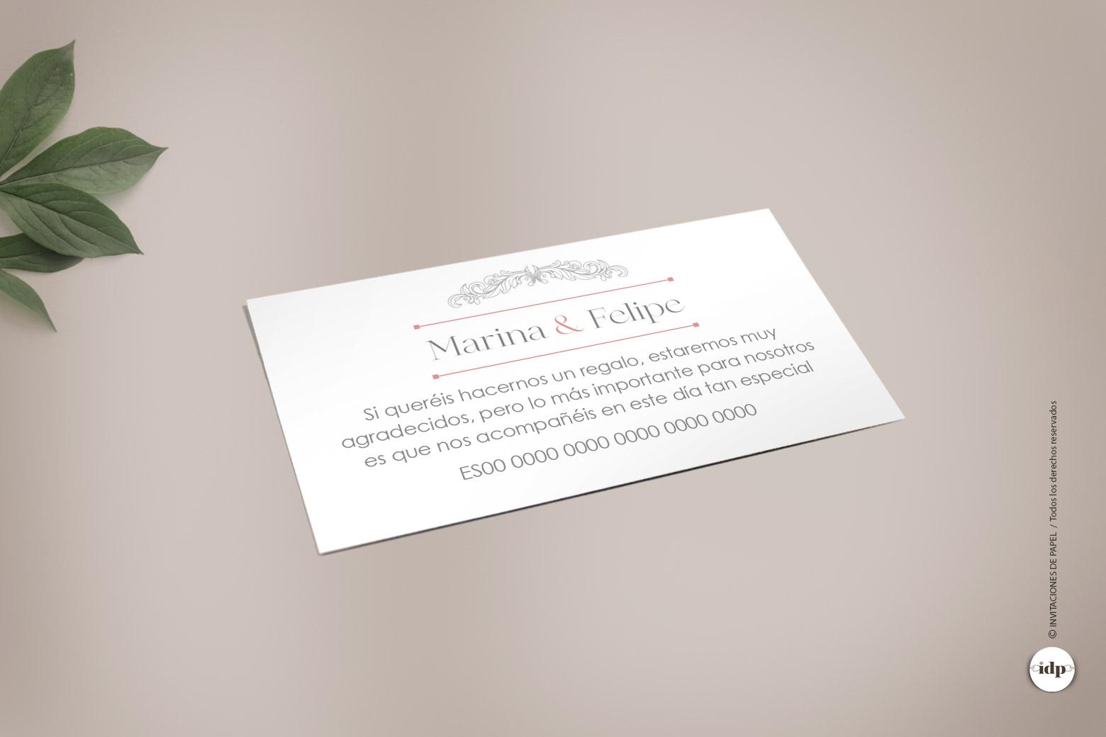Tarjeta para Numero de Cuenta del Banco de la Invitacion de Boda Vintage sweet