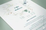 Invitacion de Boda Sencilla con Hojas en Acuarela - vergel