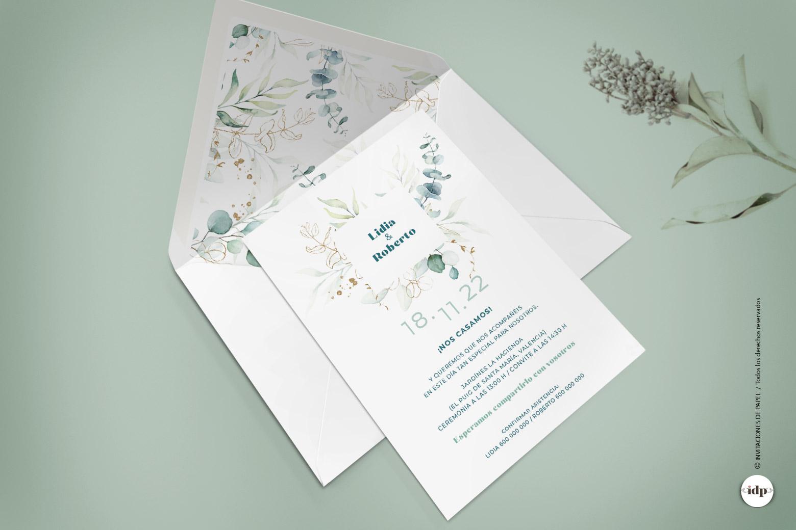 Invitaciones de Boda Sencillas con Hojas vegetales - vergel
