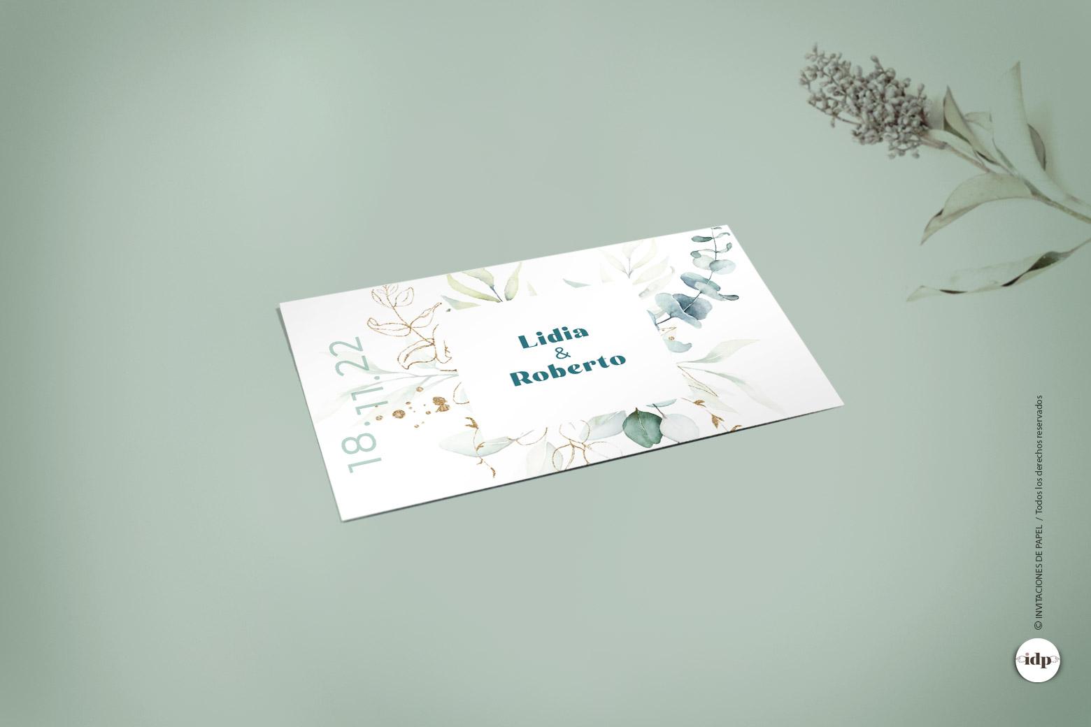 Etiqueta Adhesiva o Pegatina para los Regalos de la Boda con Hojas en Acuarela Sencillas y Elegantes - vergel