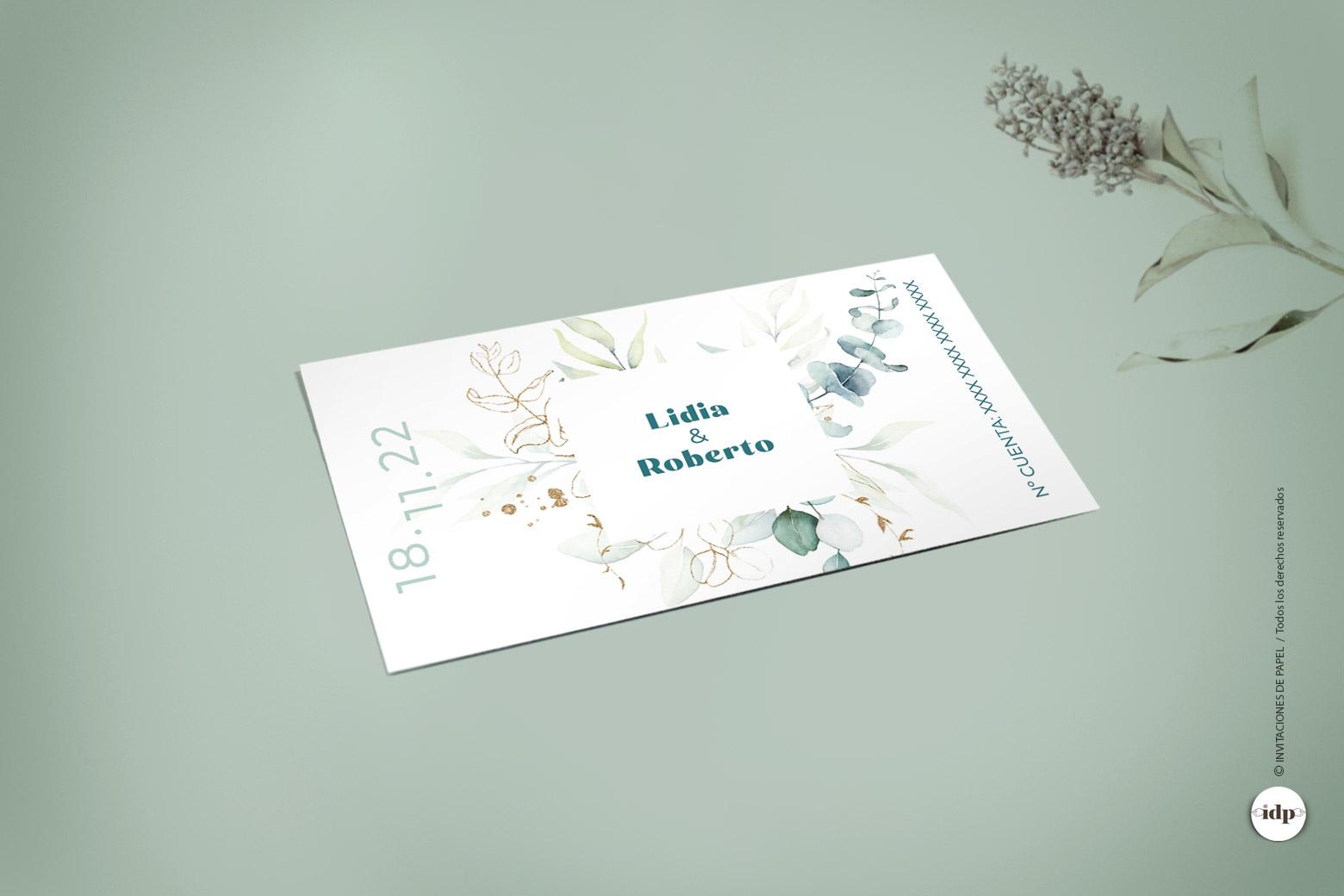 Tarjeta para Numero de Cuenta del Banco con Hojas en Acuarela - vergel