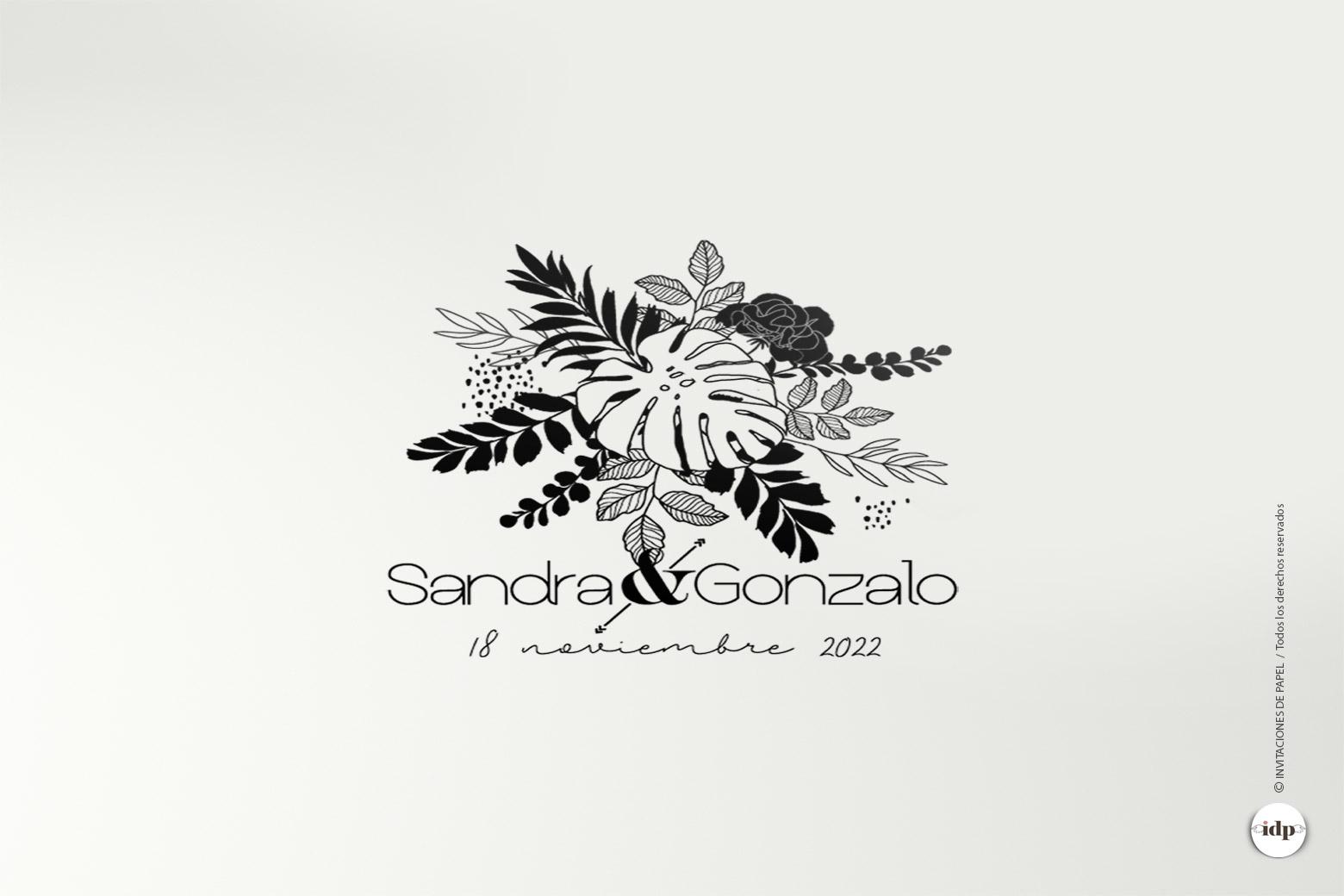 Sello de Boda de Madera Personalizado con Hojas tipo Tropical -amazonas