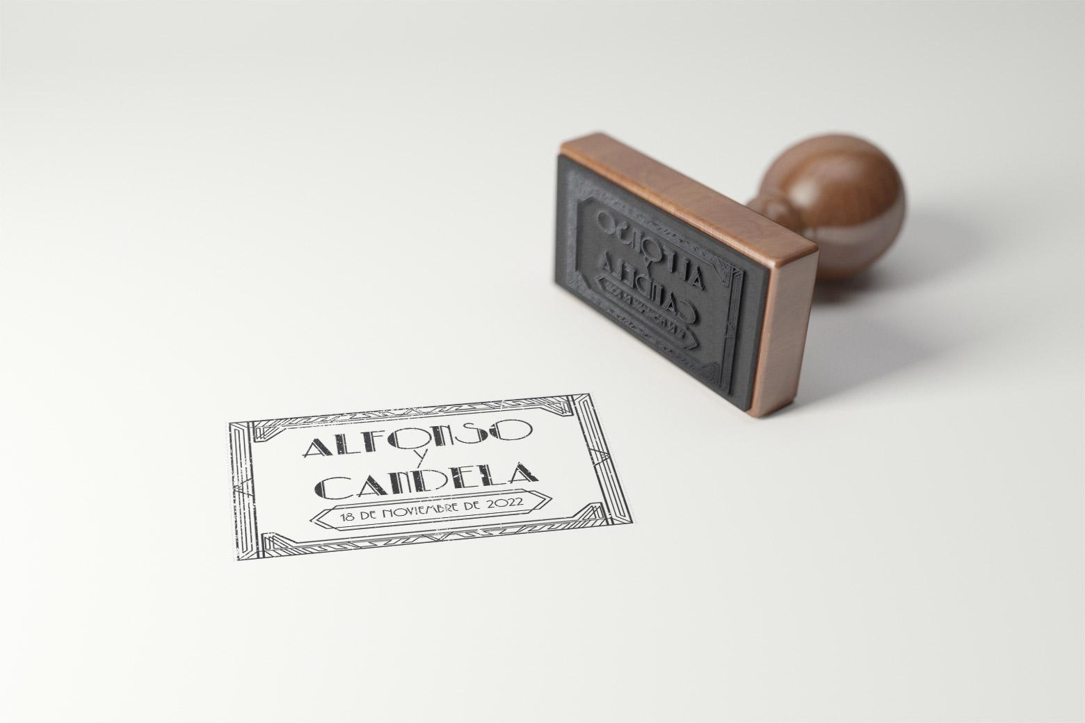 Sello de Madera para Boda Vintage Personalizado Años 20 - gatsby rectangular