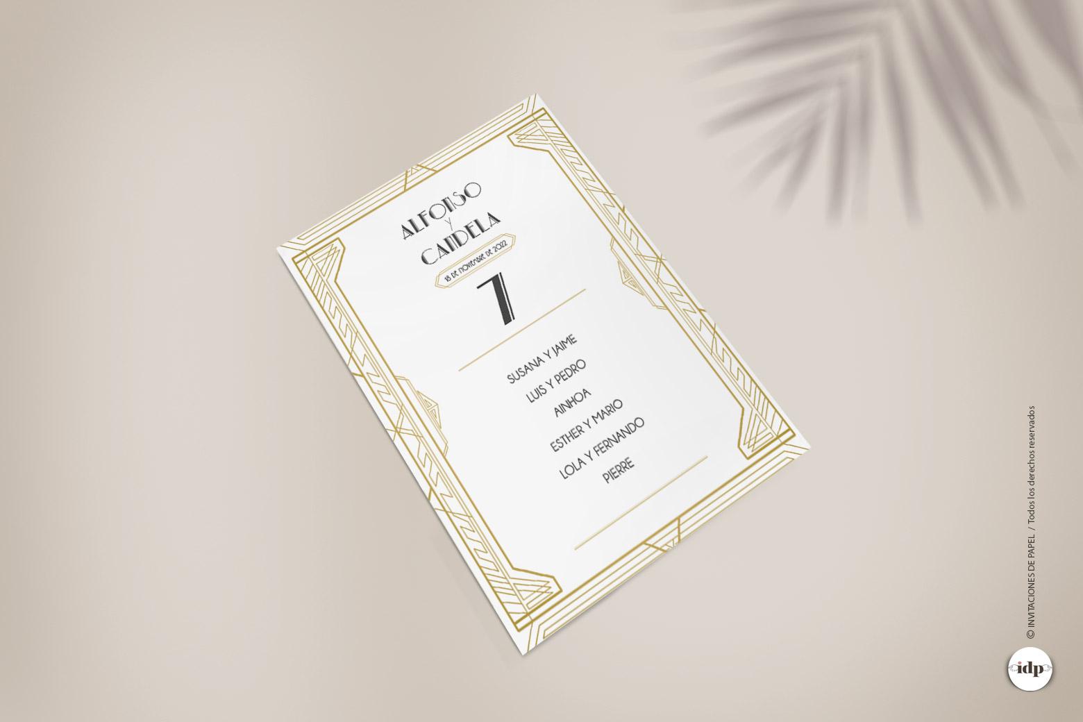 Listas de Mesa para Boda Vintage Años 20 - gatsby