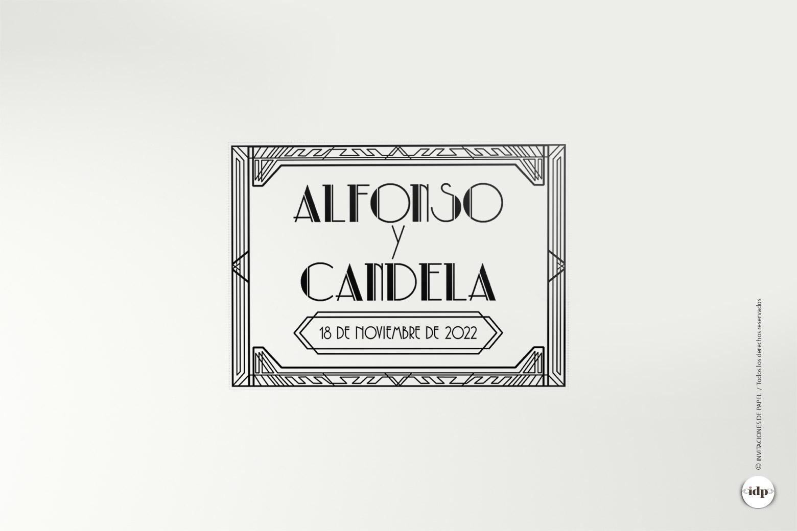 Sello de Boda Vintage Años 20 - gatsby rectangular
