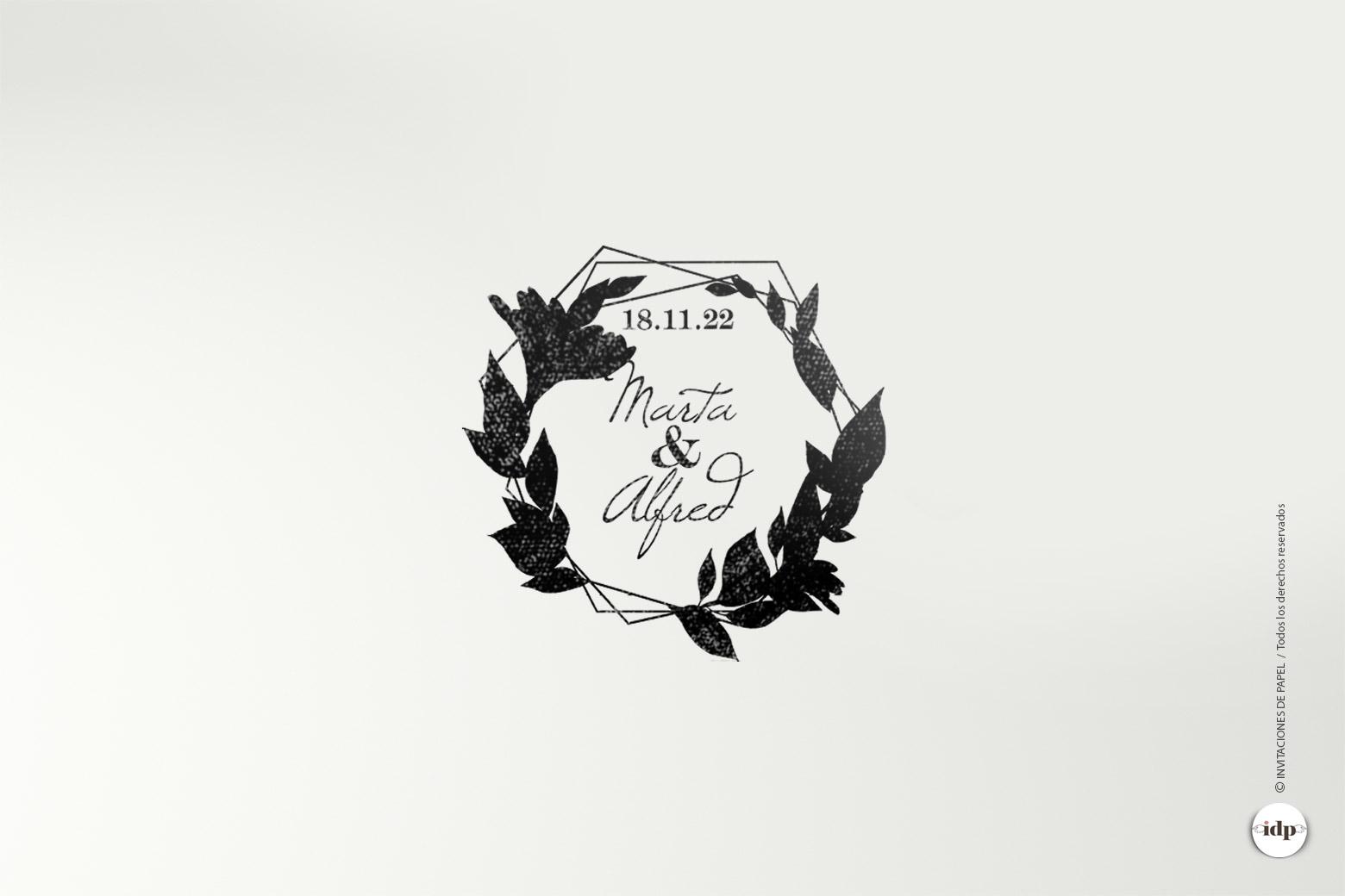 Sello de Madera para Boda Personalizada con Hojas de laurel