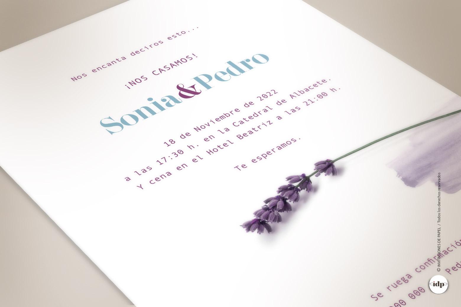 Invitaciones de Boda Sencillas con Flor de Lavanda