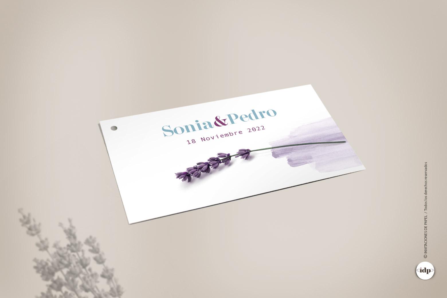 Etiqueta para Regalo de Boda con Flores de lavanda en Acuarela y Sencillas