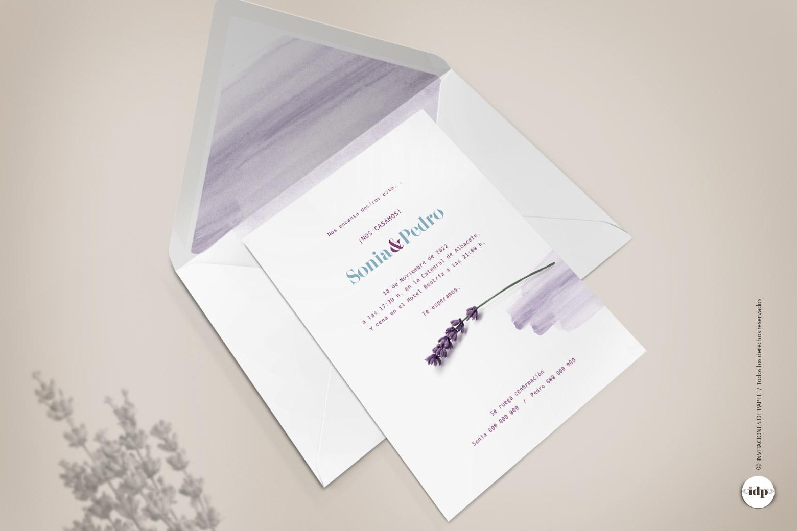 Invitaciones de Boda Florales y Sencillas con Lavanda