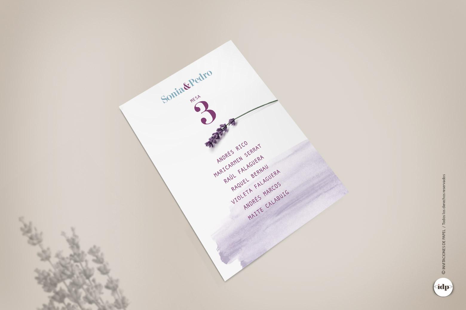 Listas de Mesas de Boda Sencillas Personalizadas con Flor de Lavanda y Acuarela