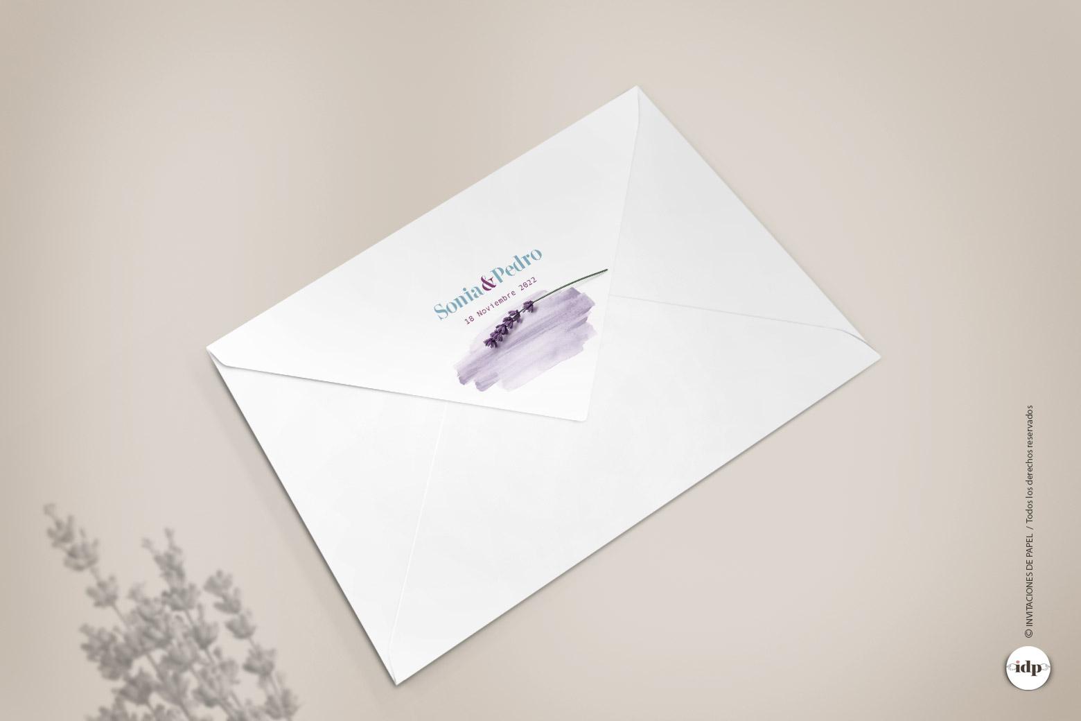 Imprimir Sello o Logo de Boda en el Sobre - lavanda