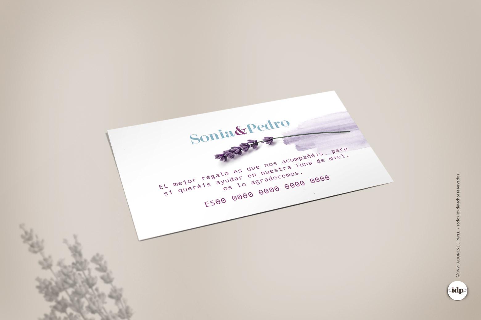 Tarjeta para Numero de Cuenta del Banco de Boda Sencilla con Flor de Lavanda