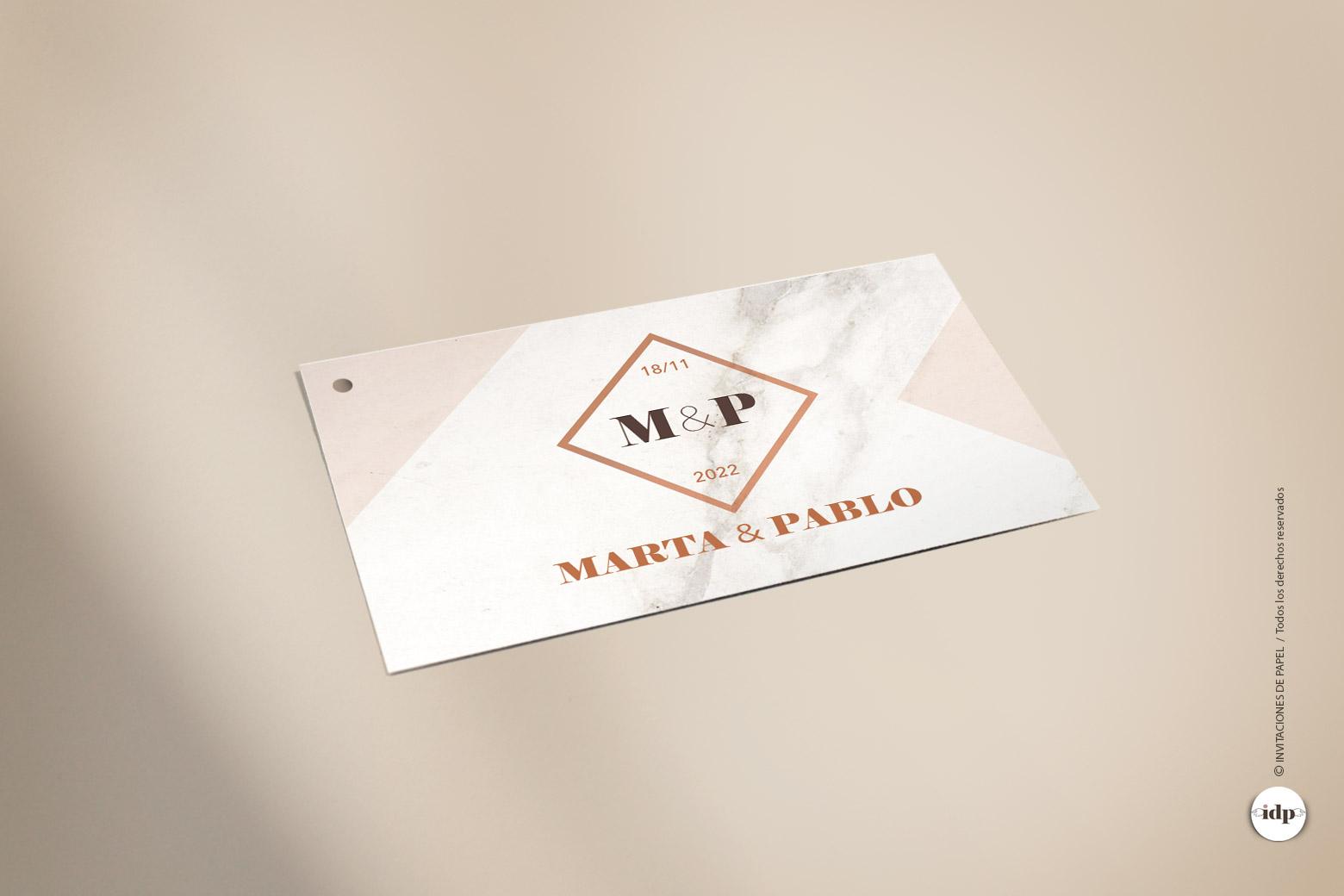 Etiqueta para Regalo de Boda Sencilla y Elegante - marmol