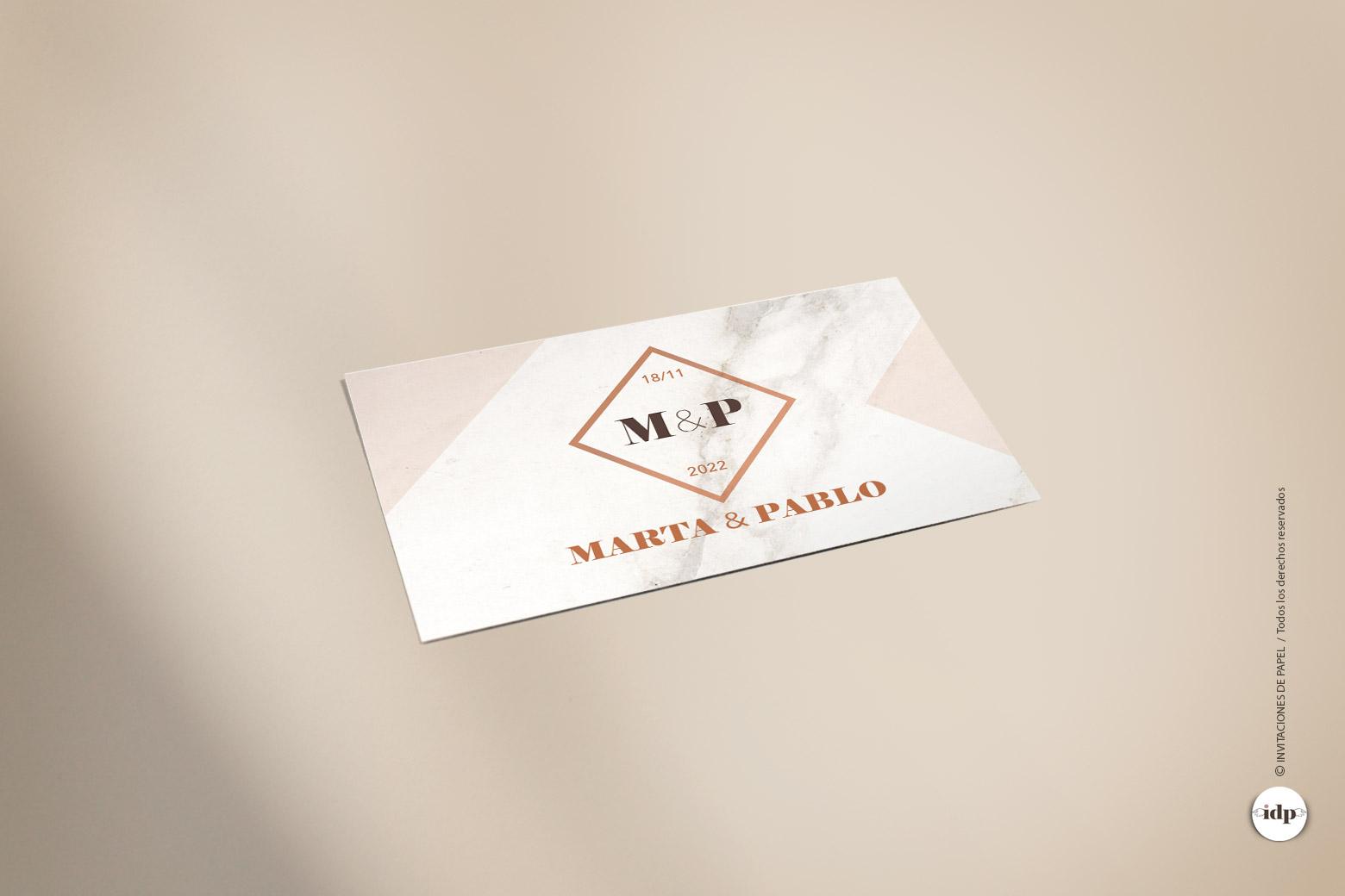 Pegatina para Regalos de invitados de Boda Sencillas y Elegantes - marmol rectangular