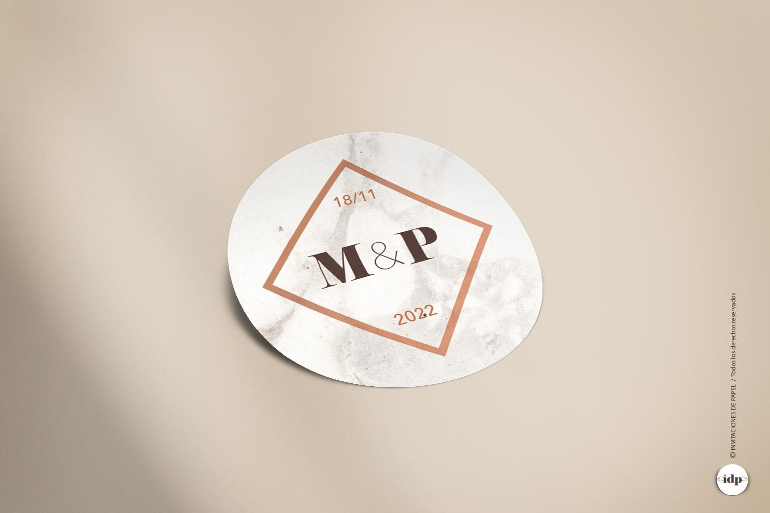 Pegatina para Regalo de Boda Personalizada con fondo de Marmol - redonda