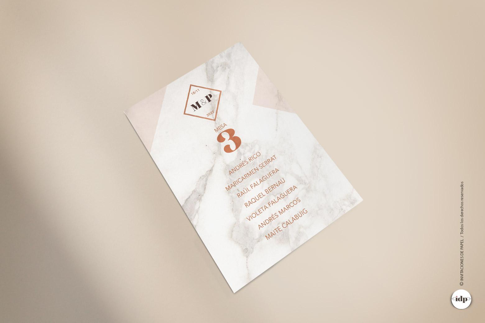 Lista de Mesa de Boda Sencilla y Elegante - marmol