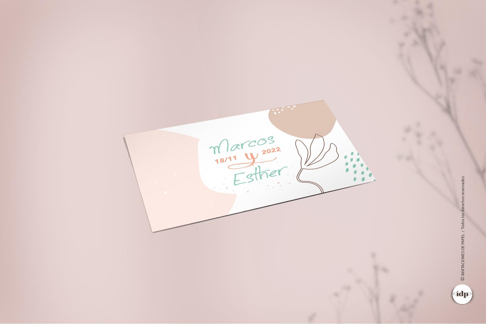 Pegatina para Regalos de la Boda Sencillas en rosa palo - nordica rectangular
